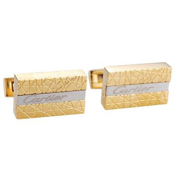 Cartier Rectangular Clone Gold & Silver Engraved Logo Cufflinks Luxury Style Price Singapore