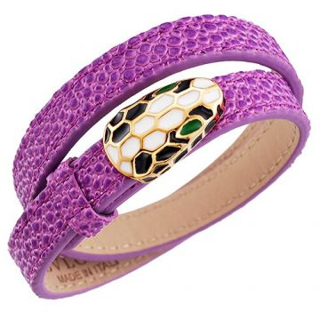 Bvlgari Serpenti Purple Leather Bracelet Gold-plated Adorned Celebrity Style Shop Online Canada Mother's Day Gift
