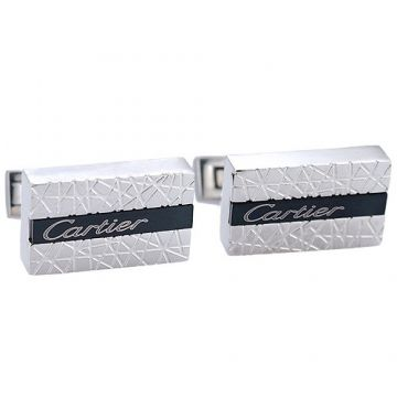 Cartier Silver Men Cufflinks Black Decked 2018 New Arrival Rectangle Shape Price In Malaysia