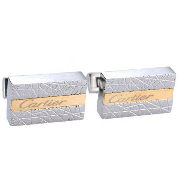 Imitation Cartier Pink Stripe Silver Cufflinks Delicate Lines With Logo Couple Style On Sale India