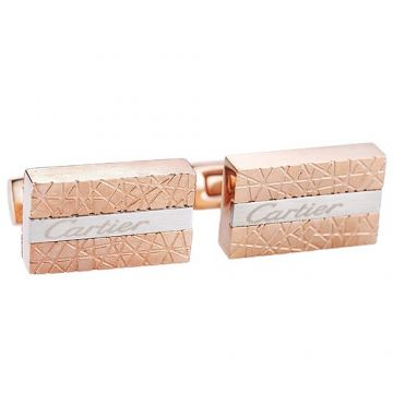 Cartier Rose Gold & Silver Logo Cufflinks Elegant Style Online Shopping Paris For Unisex