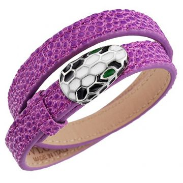 Elegant Bvlgari Serpenti Snake Head Purple Leather Bracelet Bella Hadid Style Singapore Price List 2018
