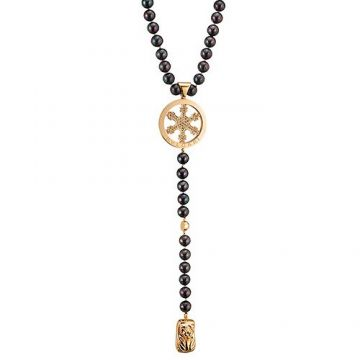 Bvlgari Long Black Bead Necklace Gold-plated Snowflake Pendant Price Australia On Sale Women