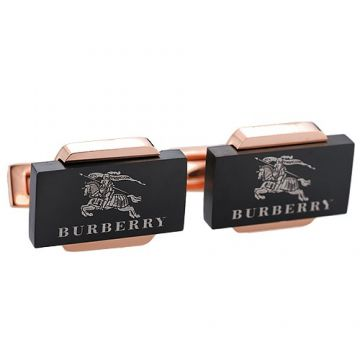 Burberry Rose Gold-plated Cufflinks Equestrian knight Pattern Black Rectangle Wedding For Men Sale UK