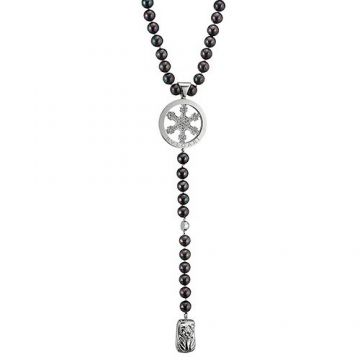 High-end Imitation Bvlgari Black Bead Necklace Silver Charm Modern Style Review In UK Women & Men