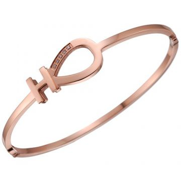 Replica Hermes H Logo Horseshoe Cutwork Rose Gold Plated Diamonds Bangle 2018 USA Girls Gift