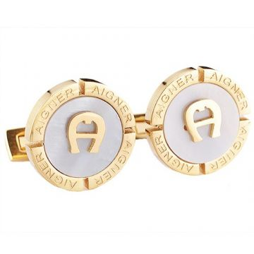 Wholesale Aigner Yellow Gold-plated White Pearl Copy Cufflinks Adorned A Symbol Businessmen NYC