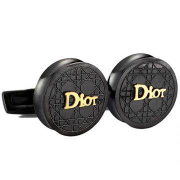 Replica Christian Dior Men Black Cufflinks Round Shape Golden Logo Valentine Gift White Shirt USA Online