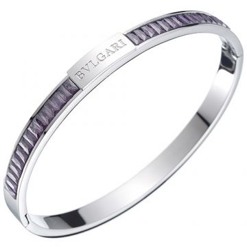 Wholesale Bvlgari Silver Narrow Bangle Decked Logo Amethyst Couple Style 2018 New Arrival Russia Price