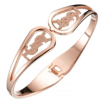 Saint Laurent Rose Gold-plated Wide Bangle Sign Adorned Shop Online Malaysia Valentine Gift For Women