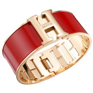Fake Hermes Yellow Gold Plated H Logo Buckle Red Enamel Bangle Hot Girl US Review