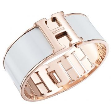 Hermes White Enamel H Logo Bangle Rose Gold Plated Hardware 2018 Newest For Women Malaysia