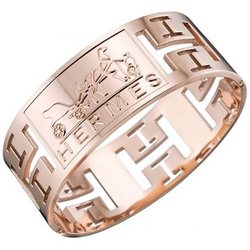 Hermes H Logo Hollowed-out Street Style Rose Gold Wide Bangle Sale Online Canada Lady Gift