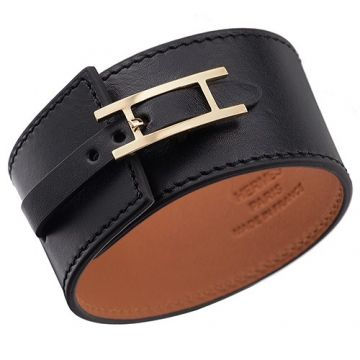 Hermes Unique Hapi Wide Black Leather Bracelet Gold-Plated Buckle For Women & Men Price In US 2018