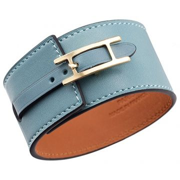 Hermes Hapi Wide Replica Light Blue Leather Bracelet Yellow Gold-plated Buckle Best Gift Unisex Sale