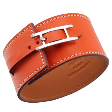 Hermes Hapi Wide Orange Leather Bracelet Silver Plated Buckle Celebrity Style Australia Tide Girl