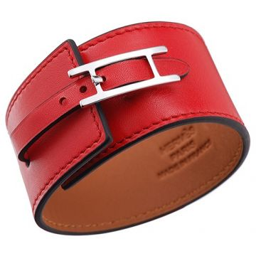 Hermes Women's Hapi Wide Silver-Plated Buckle Red Leather Bracelet Replica Sexy Style Party UK Review
