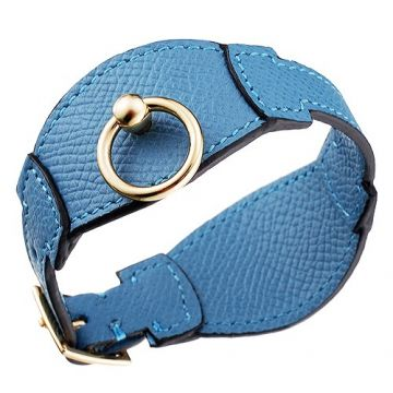 Hermes Unisex Light Blue Leather Yellow Gold Plated Clasp Bangle Online Store Dubai Good Review