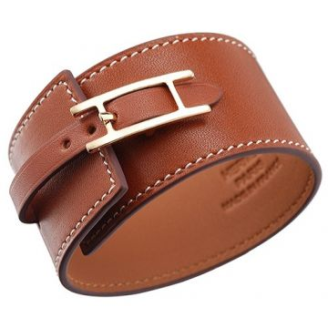 Hermes Hapi Wide Tan Leather Bracelet Yellow Gold Plated H Logo Buckle Vintage Style Women/Men