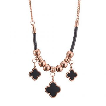 Van Cleef & Arpels Magic Alhambra Three Black Clover Charm Rose Gold-plated Bead Chain Necklace Women Canada
