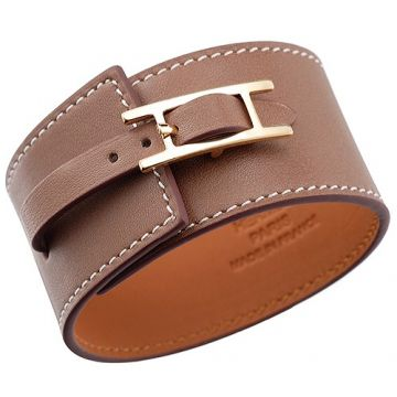 Hermes Replica Hapi Wide Brown Leather Bracelet Celebrity Gold-Plated H Buckle Sale For Unisex UK