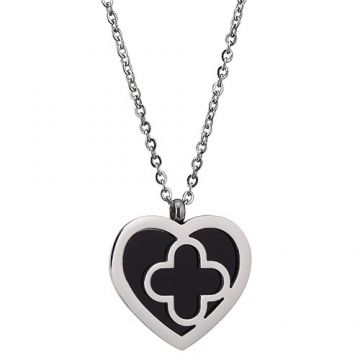 Unique VCA Sweet Alhambra Unisex Heart & Clover Pendant Black Enamel Silver Chain Necklace For Sale