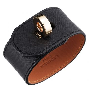 Replica Hermes Hip Hop Black Leather Wide Bracelet Rotating Gold-Plated Buckle Cool Girls Boys Sale