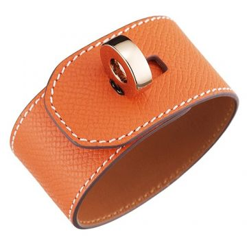 Hermes Hip Hop Fake Orange Leather Wide Bracelet Gold-plated Rotatable Buckle For Female America Price