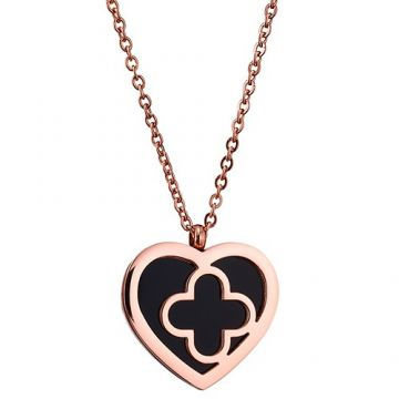Van Cleef & Arpels Knockoff Sweet Alhambra Rose Gold-plated Necklace Black Enamel Heart & Clover Charm 2018 For Women & Men