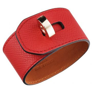 Copy Hermes Hip Hop 316L Steel Circle Hardware Red Wide Leather Bracelet Online Store Malaysia