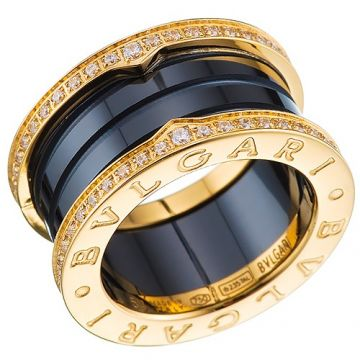 Bvlgari Replica B.zero1 Ring Yellow Gold-plated Diamonds Black Ceramic Ornate Women/Men Price Sydney