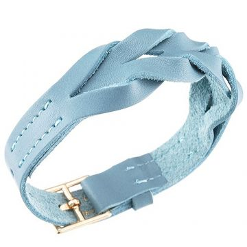 Hermes Hippique Women's Light Blue Braided Leather Bracelet Gold-Plated Buckle US Price Office Lady