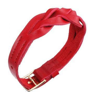 Replica Hermes Hippique Gold-Plated Buckle Red Braided Leather Bracelet Street Fashion Online US Price Unisex