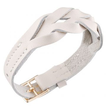 Hermes Hippique White Leather Braided Unisex Bracelet Gold-Plated Buckle Christmas Gift Sale Online Malaysia