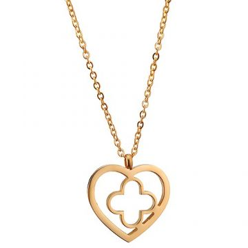 VCA Personalized Byzantine Alhambra Gold-plated Chain Necklace Hollow Heart Clover Couple Style Valentine Gift NYC