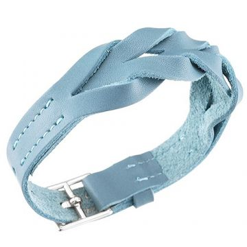 Hermes Imitation Hippique Women's Light Blue Woven Leather Bracelet Chic Style 316L Steel Buckle Summer