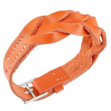 Top Quality Fake Hermes Hippique Silver-Plated Buckle Orange Leather Braided Bracelet Unisex 2018 Latest America