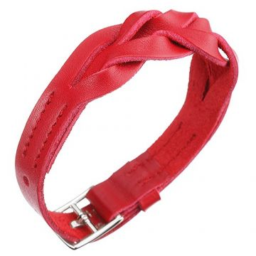 Hermes Hippique Fake Red Bracelet Vogue Silver Plated Hardware Woven Leather Bracelet Women/Men Sale
