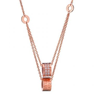 Bvlgari B.zero1 Imitation Rose Gold-plated Two Chain Diamonds Pendants Necklace Delicate Women Gift Sale America