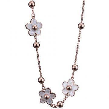 VCA Floral Socrate White Enamel Flower Rose Gold-plated Bead Chain Long Necklace Copy Women Sale