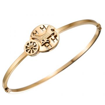 Hermes Retro Yellow Gold Plated Carriage & Horse Motif Narrow Bangle Online Sale 2018 Newest Design