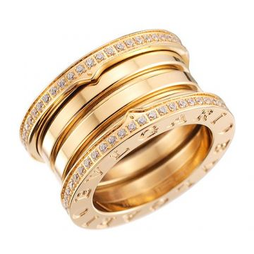 Bvlgari B.zero1 Yellow Gold-plated Spiral Ring Adorned Crystals Edge For Women Men Celebrity Style UK
