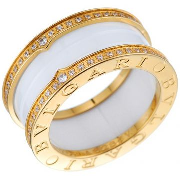 Bvlgari B.zero1 White Ceramic Gold-plated Ring Encrusted Logo Crystals Edge On Sale India For Lady