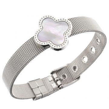 VCA Wide Silver Chain Bracelet Buckle Pearl Clover Adornment With Crystals Online Shop Sydney Women
