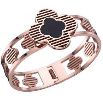 Van Cleef & Arpels Rose Gold-plated Wide Hollow Bangle Stripe Clover Decoration Black Enamel Girls France