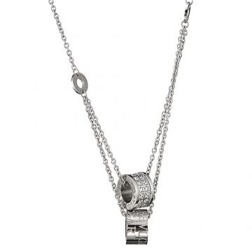 Bvlgari Couple Style B.zero1 Silver Two Chain Necklace Crystals Pendant 2018 Street Style Birthday Gift
