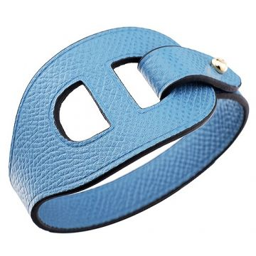 Hermes Copy Lona Yellow Gold Plated Hardware Light Blue Hollow Out Leather Bracelet For Sale