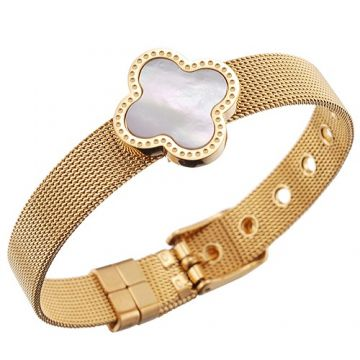 Clone Vintage VCA Gold-plated Chain Bracelet Pearl Studded Clover Adornment For Cool Girl Price Toronto
