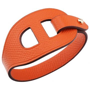 Hermes Lona Orange Cutwork Leather Bracelet Gold-Plated Clasp Fashion Design Sale For Women/Men