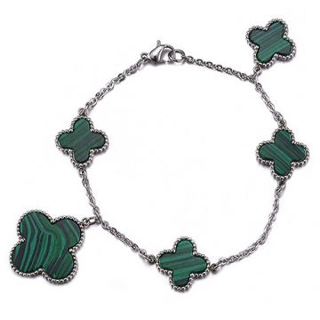 Van Cleef & Arpels Magic Alhambra Green Clover Motif Silver Chain Bracelet Fashion Design Sale Women USA